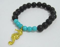 Black Lava bead and Turquoise Mala Seahorse Charm Bracelet | shangrilacraft - Jewelry on ArtFire