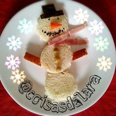 Boneco de neve #comidadivertida http://coisas-da-lara.blogspot.com/2014/11/comidinhas-de-natal.html