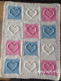 crochet pattern heart afghan crochet blanket pattern by Crochets4U