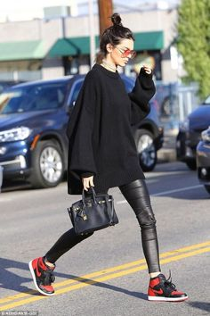 Kendall Jenner wearing J Brand L8007 Edita Leather Leggings in Black, Hermes Birkin Bag, Sonix Lodi Sunglasses in Rouge, Frasier Sterling Heart of Glass Choker and Nike Air Jordan Sneakers