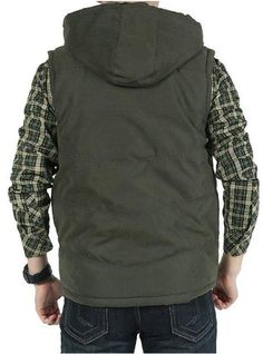 2014 Men Winter Autumn Cotton Padded Vest Man Hooded Leisure Sleeveless Jacket  Plus Size Waistcoat Clothes For Man S870