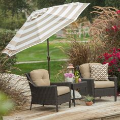 Delicieux 9 Ft Market Umbrella With Tilt And Crank With Beige And White Stripe Canopy