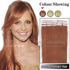 22 Inch 20pcs Tape Grade AAA Remy Human Hair Extensions Straight (#33 Rich Copper Red)