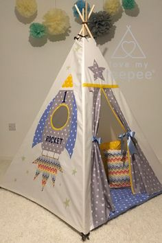 Children's Space Rocket Teepee Personalised Any Star Colour From Teepee Play Tent, Diy Teepee, Kids Tents, Teepee Kids, Large Floor Cushions, Scatter Cushions, Diy Rocket, Childrens Teepee, Imagination Toys