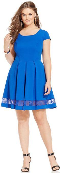 Plus Size Lace-Trim Skater Dress