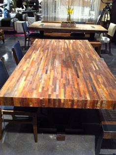 7ft recycled boat wood table