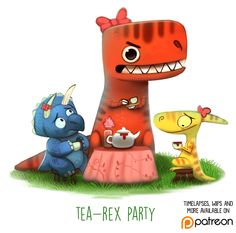 Daily Paint 1497. Tea-Rex Party by Cryptid-Creations.deviantart.com on @DeviantArt
