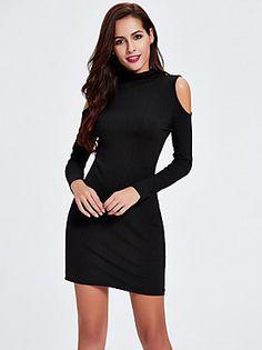 Mujer Corte Bodycon Vestido Noche Simple,Un Color Cuello Alto Mini Manga Larga Negro Algodón Otoño Tiro Medio Elástico Medio