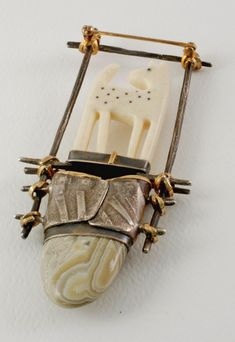 Carolyn Morris Bach sterling and 18K gold  pin with agate and carved bone dog or fawn.