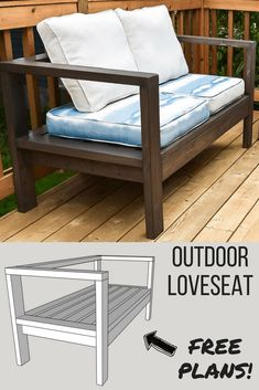 Get the free woodworking plans for this comfy DIY outdoor loveseat and lounge outside all summer long DIY outdoor furniture DIY outdoor couch DIY outdoor loveseat Diy Sofa, Diy Furniture Couch, Rustic Furniture, Furniture Design, Furniture Stores, Antique Furniture, Cheap Furniture, Furniture Online, Discount Furniture