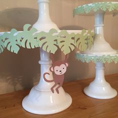 Jungle party cake stands. Looks easy to make with foam and templates. Would be cute as a shower garland...mdb