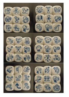 rory's story cubes - actie Games For Kids, Diy For Kids, Activities For Kids, Story Dice, Story Cubes, Therapy Games, Art Therapy, Story Stones, Horse Crafts