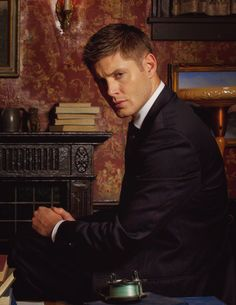 The CW + TNT's, Supernatural Series. Pictured - A cleaned up version of Character, Dean Winchester (Minus the pie and cheeseburger) (Actor, Jensen Ross Ackles, born 4/1/78, Dallas, Texas, USA)