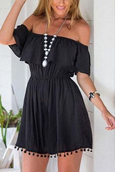 This dress is with off shoulder, elastic waist, front layered and tassel details. We love it with sandals in summer season. You can wear this dress day and night. Enjoy your time. - Bohemia style - St