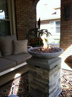 Front porch fire pot for cool evenings! Great place for lazy nights!