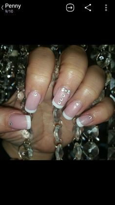 Acrylic nails with gel french polish