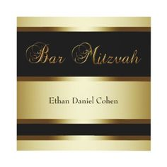 Black Gold Bar Mitzvah Announcement by InvitationCentral