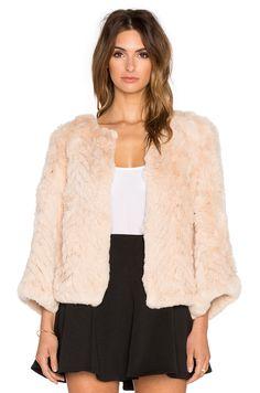 H Brand Jagger Dyed Rabbit Fur Jacket in Peach