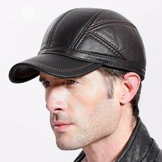 3d06b261528 Winter Baseball Cap For Men Leather Warm Hats Men Snap-back Dad Hat  Adjustable Hip Hop Caps Bone. Costbuys