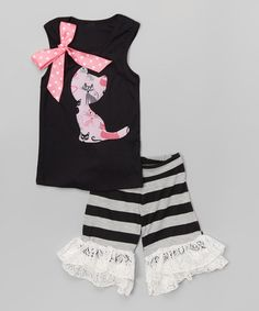 Look at this Black & Pink Cat Tank & Ruffle Shorts - Infant, Toddler & Girls on #zulily today!