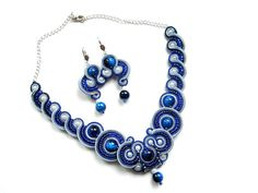 Earrings and Necklace in the soutache от SoutacheByMolicka на Etsy, $99.00