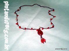 ♥Colar em Crochê Vermelho Escarlate♥