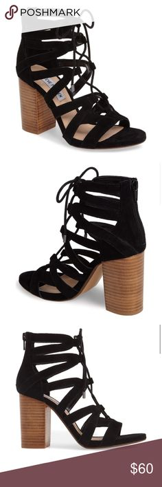 """Steve Madden Suede Sandals size: 7.5 Excellent pre-owned condition (worn once for a few hours) Steve Madden black suede sandals size 7.5. 3 1/2"""" heel, 4"""" shaft, lace-up style with back zip closure Steve Madden Shoes Sandals"""