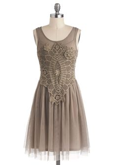 With either a square neckline or a higher wider boatneck and this would be perfect on a date.   Bohemian Belle Dress in Taupe | Mod Retro Vintage Dresses | ModCloth.com