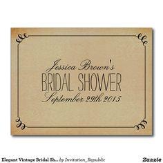 Elegant Vintage Bridal Shower Recipe Cards