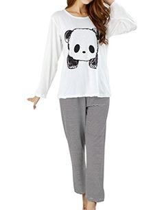 VENTELAN Women's Cute Panda Striped Long Sleeve Sleepwear Pajama Set Nighty (Asian S(USA Size:0)  Panda White)