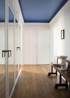 Pop of blue in painted ceiling; BNOdesign