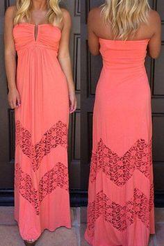 Red Plain Bandeau Pleated Hollow-out Floor Length Maxi Dress - Maxi Dresses - Dresses