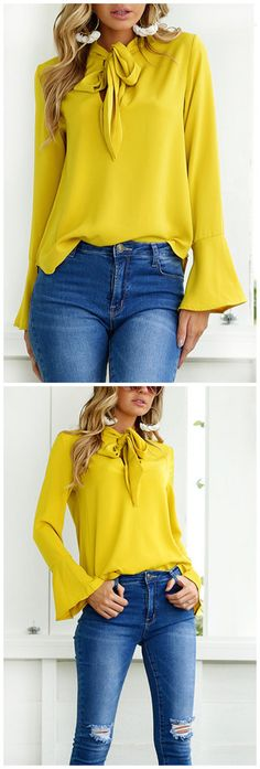 Yellow Self-tie Design Blouse Mode Outfits, Fall Outfits, Fashion Outfits, Womens Fashion, Nice Dresses, Casual Dresses, Casual Outfits, Mode Simple, Yellow Blouse