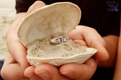 Use a shell and the sand we brought back from the beach, where he proposed