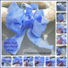 Make your own Floral Bow - Step by step photo tutorial bow tutorial floral Dec Gift Wrapping Bows, Gift Wraping, Wrapping Ideas, Ribbon Crafts, Flower Crafts, Crafts To Make, Fun Crafts, Bow Tutorial, Photo Tutorial