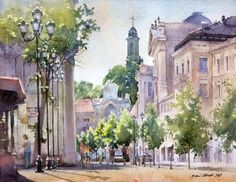 In this articles we will present you the best urban watercolor paintings from some very talented artists. We can use watercolors as a sketch medium or to create an epic watercolor painting, also we can choose between painting technique and drawing t. Watercolor Artwork, Watercolor Sketch, Watercolor Artists, Watercolor Flowers, Watercolor Pictures, Watercolor Architecture, Watercolor Landscape, Fabrice Moireau, Traditional Paintings