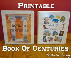 Book of Centuries: Charlotte Mason Style. This printable BofC comes with downlodable timeline pages, 2 covers to choose from, a page cover page explaining BC vs. AD, and more! You'll love the bonus page that kicks off the birth of Jesus. Click over to see lot of great pictures! :-)