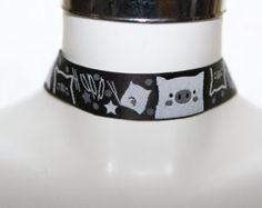 Check out Kawaii Manga Monochrome black white Ribbon Choker  Rockabilly gothic victorian style  22 mm plain choker on heavenlycow