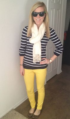 Mixing prints with stripes, leopard and yellow pants for a pop of color #lifesapartydli