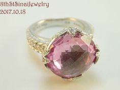 RETIRED J29550 Judith Ripka Sterling 15ct Lab-created Pink Sapp & CZ Ring Size 8 #JudithRipka #Cocktail