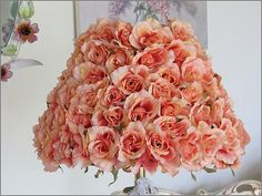 rose covered cottaged   ... Do Not Purchase, Large Romantic  ROSE Covered LAMP SHADE