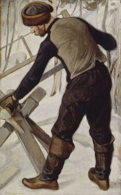 PEKKA HALONEN Halonsahaaja (1902) Scandinavian Paintings, Scandinavian Art, Planes Of The Face, Horse Hay, Nordic Art, Russian Painting, Chur, Painter Artist, Illustration Art