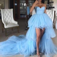 Blue Sweetheart Tulle High Low Prom Dresses with Long Train, Unique Strapless Party Dress This dress could be custom made, there are no extra cost to do custom size and color. Winter Formal Dresses, Long Wedding Dresses, Prom Dresses Blue, Cheap Prom Dresses, Light Up Dresses, Dress Wedding, Bridesmaid Dresses, Strapless Party Dress, Sweetheart Prom Dress