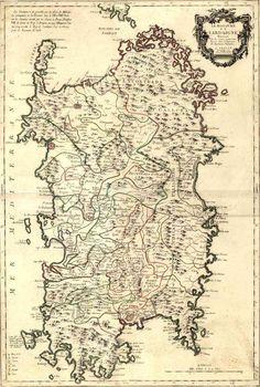 Ancient map of Sardinia. Antica mappa della Sardegna.