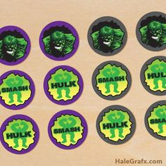 free printable Incredible Hulk cupcake toppers for your next Hulk or Avengers themed birthday party. Free printable prints 12 to a sheet in PDF format. Hulk Birthday Parties, Birthday Games, 4th Birthday, Birthday Ideas, Incredible Hulk Party, Cupcake Toppers Free, Avengers Birthday, Mickey Mouse Birthday, Mickey Party