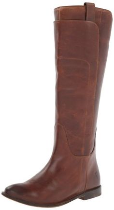 FRYE Women's Paige Tall Calf Shine Riding Boot | Brown Tall Boots for Women