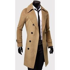 HTOOHTOOH Mens Mid Long Wool Blend Trendy Single Breasted Lapel Pea Coat