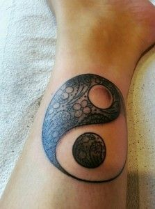 Yin Yang Tattoo for Leg