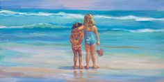 THE RED PAIL Canvas giclee in three sizes depicting two girls, siblings, friends, ocean scene, wall decor, beach decor  Lucelleraadart