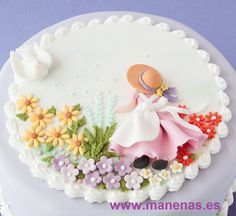 Fondan cake decorated with girl in and flowers in gum paste. Pretty Cakes, Beautiful Cakes, Amazing Cakes, Cake Icing, Eat Cake, Cupcake Cakes, Rodjendanske Torte, Gateaux Cake, Just Cakes